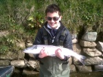 11 year old Harvey Hancock's first tweed fish 9 pound springer.Thanks to gillie Dave crees. Caught birgham dub 8/4/13