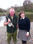 Tweedhill head boatman Brian Palmer with our Marketing Director Anne Woodcock.