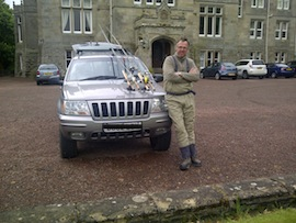 Simon Torkington leaving Tillmouth Park Hotel for another cold, blank day :-( Next time, there will be fish (probably).
